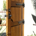 Wooden Gate with Dark Bronze Band Hinges