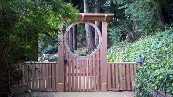 Japanese Moon Gate with Asian Inspired Gate Latch