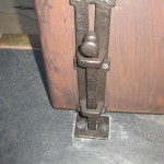 Close-Up of Dark Bronze Surface Bolt used as cane bolt/drop bolt