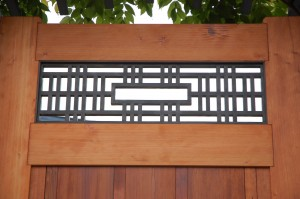 Japanese Shoji-Inspired Asian Redwood Garden Gate with Ginkgo Gate Hardware