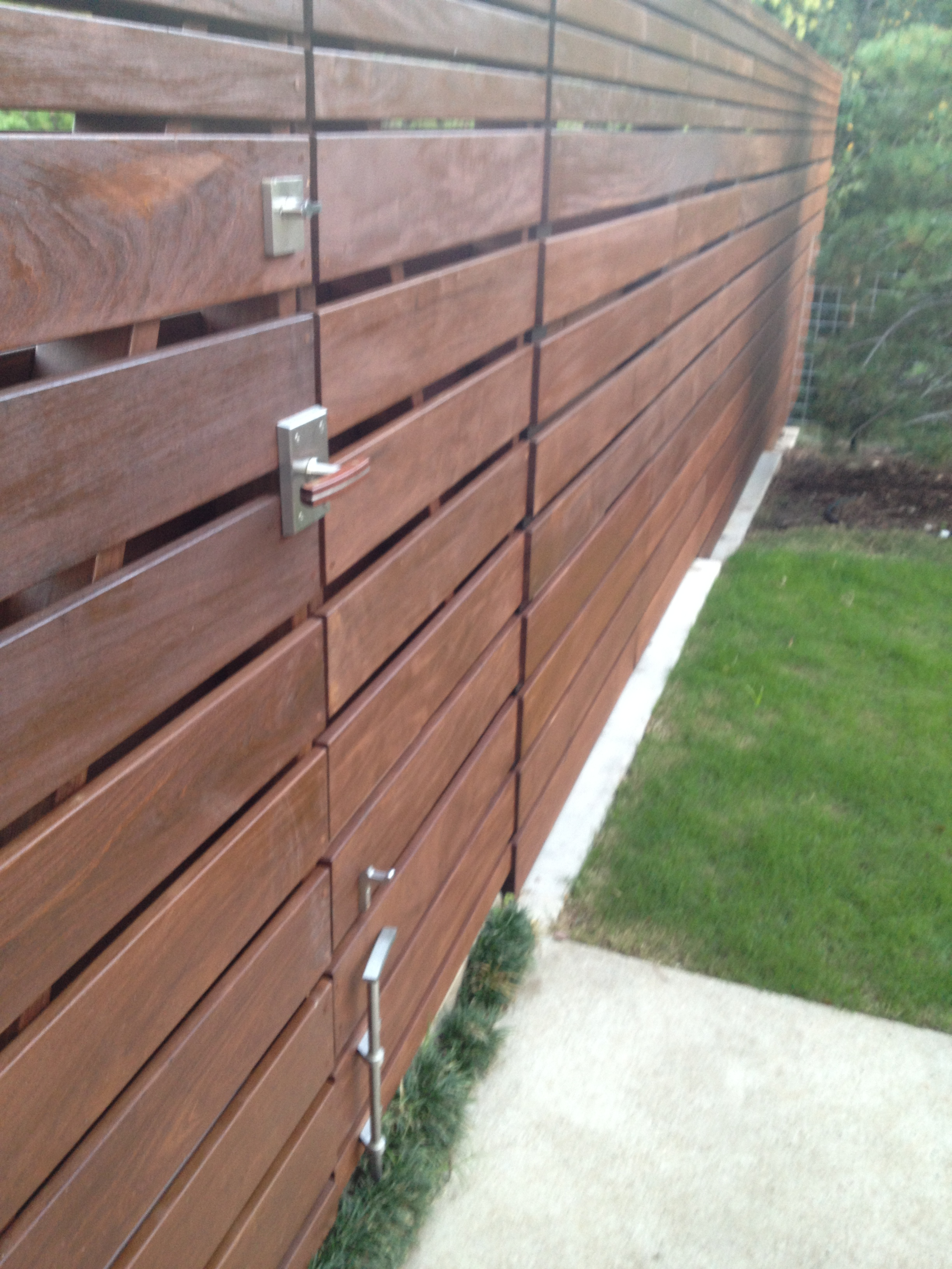 Ipe Horizontal Double Gate and Fence with Moda Gate Latch, Stainless Steel Deadbolt, and Cane Bolt