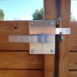 Inside View of Alta Contemporary Stainless Steel latching onto a double gate
