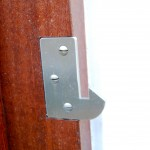 Marine grade stainless steel strike plate for modern gate latch