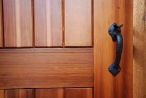Front view of bronze gate hardware thumb latch