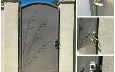 Stainless Steel Contemporary Gate with Alta Latch with Deadbolt on Custom Stainless Gate