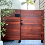 Contemporary Wood Gate with Nero Contemporary Gate Hardware and Square Modern Gate Lock