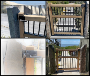 Dark bronze contemporary gate latch on oceanfront wood and metal gate