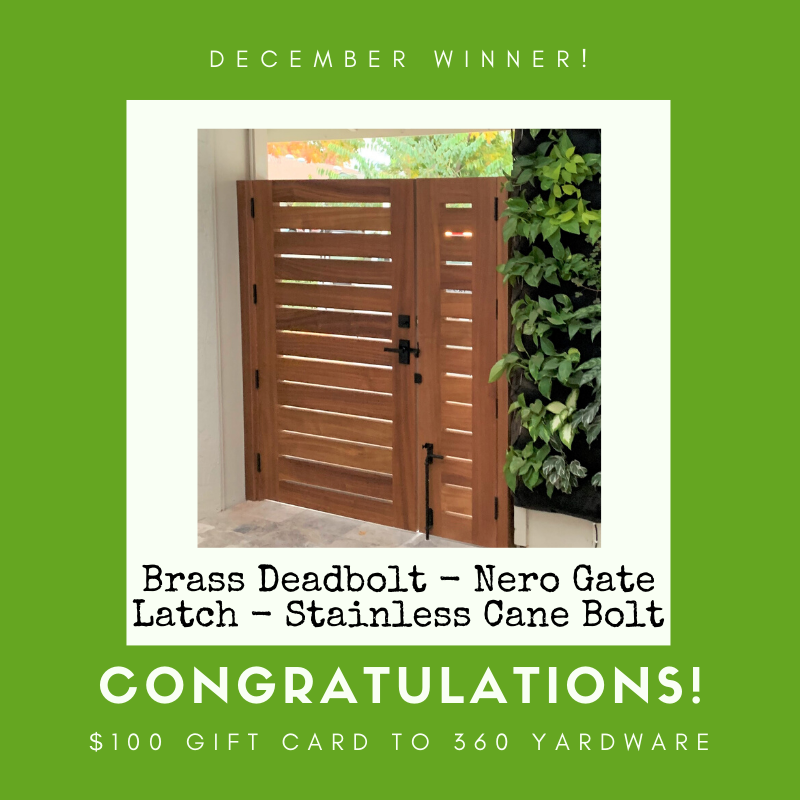 December Photo Submission Winner_nero contemporary gate latch with stainless steel cane bolt and square modern style brass deadbolt from 360 yardware